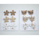 Wooden flower or wood butterfly set of 6