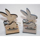 Wooden rabbit XL 12x6x4cm, with basket and Easter