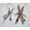 Ski aus Holz 16x7cm, mit Skistöcken und Karoband
