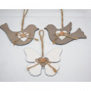 Wooden bird XL 12x10cm without butterfly with wood