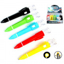 Ballpoint pen with lamp 11.5cm 5 colors assorted