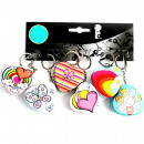 Keychain heart box 5cm metal, 4f assorted