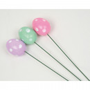 Polyfoam deco eggs, set of 3 on metal rod