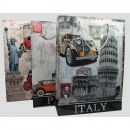 Sac cadeau Italie, Paris, New York 34,5x25x8,5cm