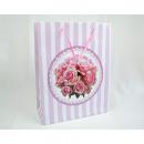 Großhandel Geschenkartikel & Papeterie: Geschenktasche Rosen + Streifen, 23x18x8cm,Mittel