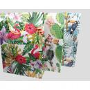 grossiste Cadeaux et papeterie: Sac cadeau XL Flamingo, cactus et perroquet