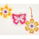hurtownia Dekoracje: Motyl + kwiatek wykonany z filcu, 10x8cm, 3-warstw
