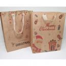 grossiste Cadeaux et papeterie: Sac cadeau nature 'Joyeux Noël' 23x18cm