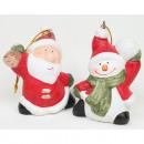 Keramisk jultomten och snögubbe 9x6x4cm