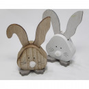 Wooden rabbit with pompom nose 10x4.8x2.5cm