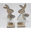 Wooden rabbit XL 15x7x4cm, on a stand with 2 flowe