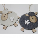 Cute wooden sheep with fur 15x9x8cm