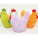 wholesale Figures & Sculptures: Great chicken with flower decoration 8x7x2cm
