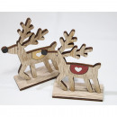 Wooden moose with heart 12x8.5x3cm, on a wooden st