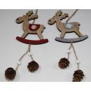 wholesale Dolls &Plush: Wooden hanger elk XL 29x9.5cm, 2- times assorted