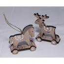 Moose or horse 8x7x3cm with wooden wheels