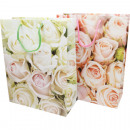 wholesale Artificial Flowers: Gift bag 16x11cm rose design, 2 assorted
