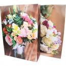 Ajándék táska 34,5x25cm, virágcsokor design