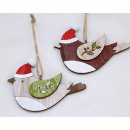 wholesale Garden & DIY store: Bird 9x6cm wooden with hanger 2- times assorted