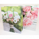 Gift bag 23x18cm, bouquet of roses 2-fold assortme