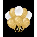 Balony urodzinowe złoto/białe - Gratulacje