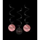 Ozdoby wirowe róż/czarny - Gratulacje
