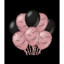 Balony urodzinowe różowy/czarny - Gratulacje