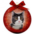 wholesale Decoration: Christmas bauble Frosted Cat Black & White