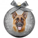wholesale Decoration: Christmas bauble Frosted German Shepherd