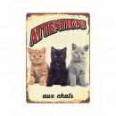 grossiste Fournitures pour animaux de compagnie: Panneau Metallique Chats Trois