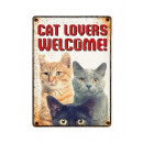Plate Tin Cat Lovers Welcome