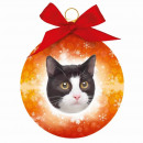 Christmas ball Cat black and white
