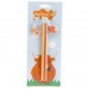 mayorista Regalos y papeleria: Set de 2 Lápices con Colgante de PVC - Vaca Escoce