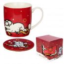 Taza de Porcelana y Posavasos - Navidad - Gato Sim