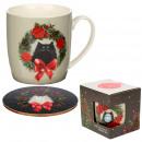 Taza de Porcelana y Posavasos - Navidad - Kim Hask