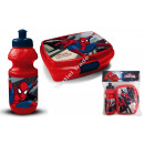 Spiderman bottiglia in plastica + box porta merend