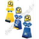 Minions hat scarf and gloves set