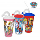 Paw Patrol plastic cup with straw