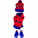 Spiderman bonnet scarf and gloves Bleu /red with e