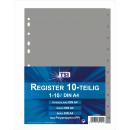Register PP A4 mit Taben 1-10 , grau