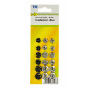 Push buttons, pack of 18, silver and black