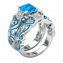 Bonnie ring with blue zircons