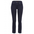 Pants with button placket, navy