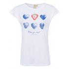 Camiseta T-Shirt mujer estampado acuarela, blanco