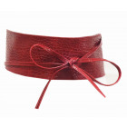 Wrap belt tie belt crocodile look red