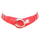cintura in pelle stretch con frecce metallo rosso