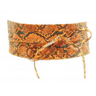 Women's waist belt wrap leather snake orange