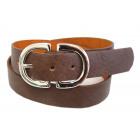 Leather Waist Hip Belt Double D Buckle Brown