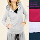 Damen Hoodie, Baumwolle, Kapuze und Reißverschluss
