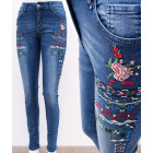 B16755 Women Jeans, Floral Embroidery & Jets